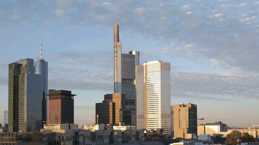FRANKFURT, GERMANY - OCTOBER 09: (Timelapse view) Skyline from day to night, October 09, 2010 in Frankfurt, Germany.