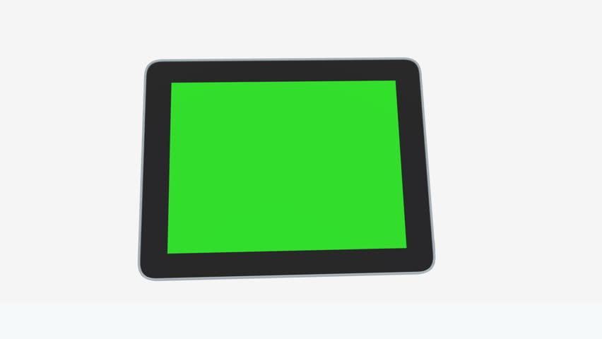4k 3D Ipad Presentation Tablet Computer Touch Screen Green Screen. cg_03110_4k #12643571
