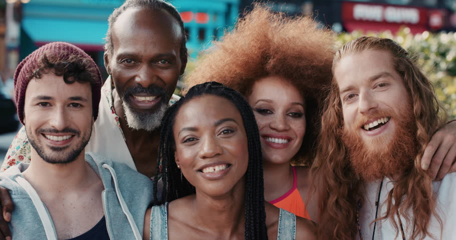 Slow Motion Portrait Of Happy Multi Ethnic Group Of People ...