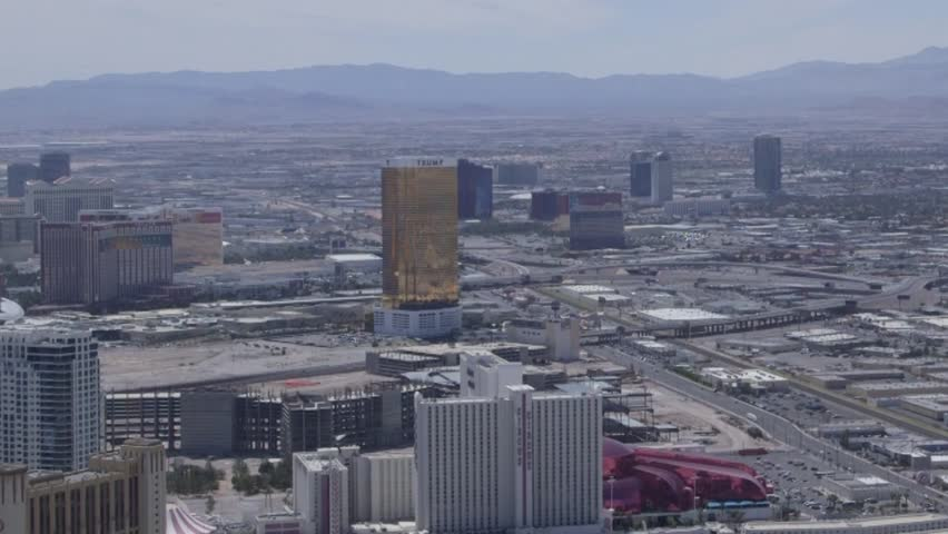 Aerial view from above looking at buildings, mountains and streets of Las Vegas, Nevada, USA | Shutterstock HD Video #12689855