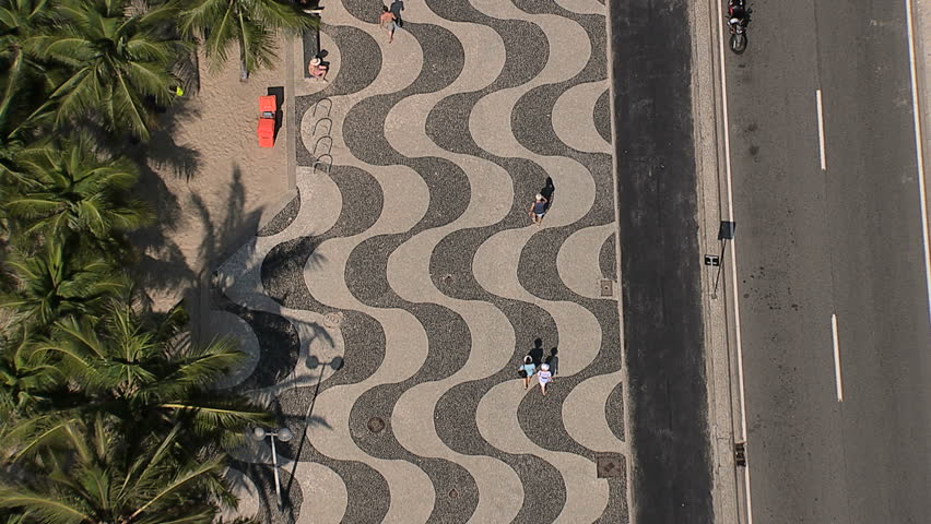 Flying directly above Copacabana Beach iconic sidewalk, Rio de Janeiro, Brazil