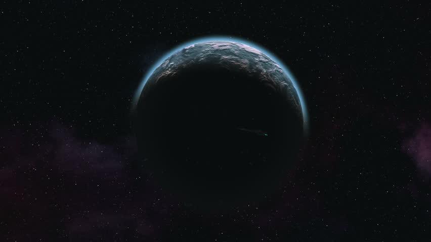 Alien planet orbit. Spaceship. Sun. Stars | Shutterstock HD Video #12695915
