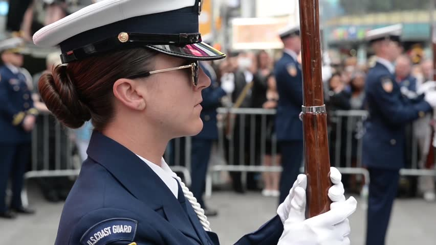 NEW YORK, MAY 2015, Medium Close-Up US Coast Guard Ceremonial Honor Guard On Times Square Female Soldiers Present Rifles