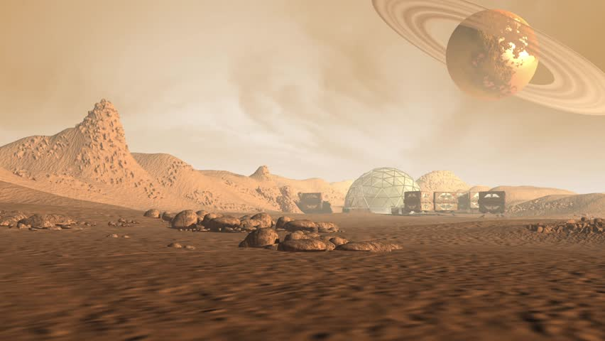 Colony on Mars like red planet, with astronaut pods, dome structure and a Saturn like moon with rings in a dusty sky, for sci-fi animated backgrounds
