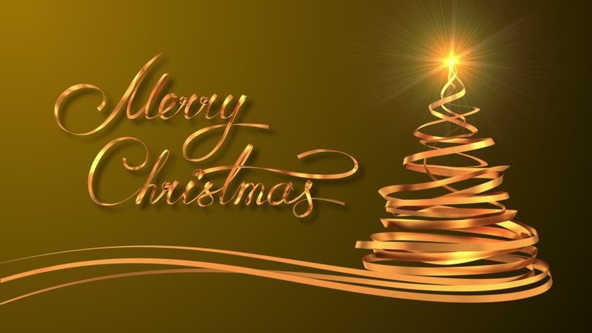 writing golden ribbon text merry christmas and christmas tree over yellow background 3d animation