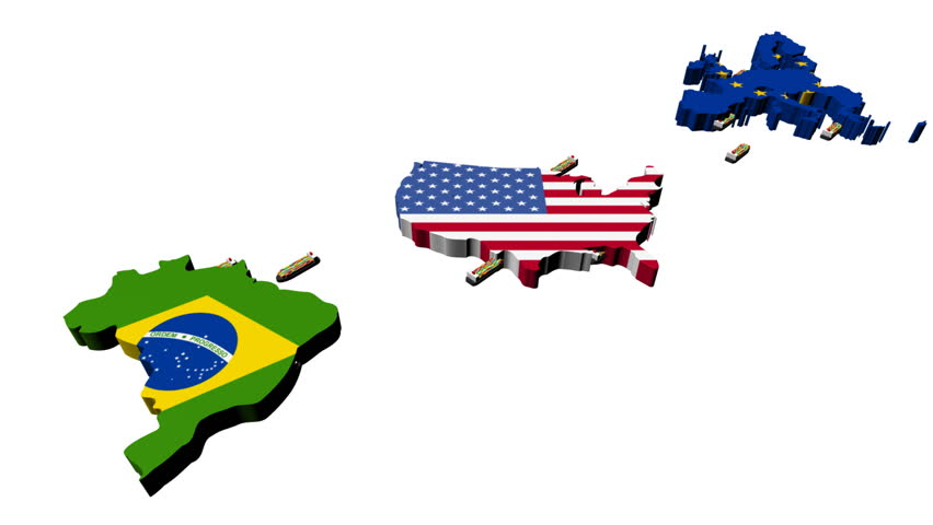 USA Brazil Trade With Container Ships Animation Stock Footage - Maps of planes shipping goods us to brazil