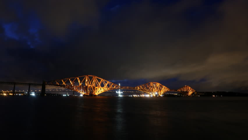 Timelapse of Forth Rail Bridge at night Scotland | Shutterstock HD Video #12794711
