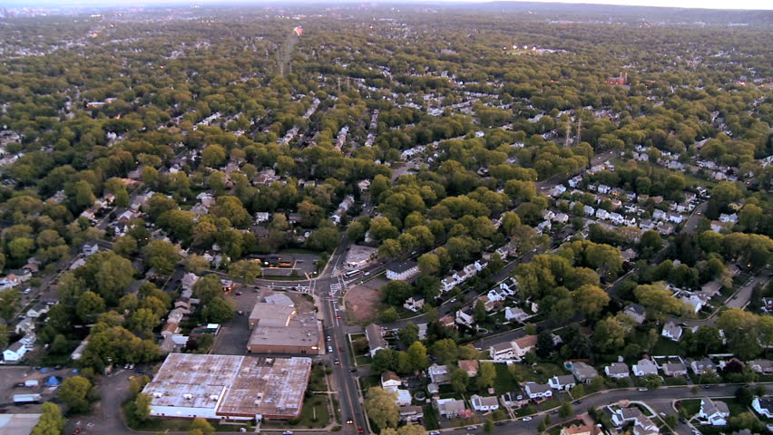 Aerial view of homes in the suburbs of New Jersey, New York State, North America, USA