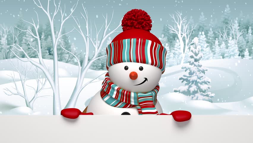 Snowman peeking out, animated greeting card, winter holiday background, Merry Christmas and a Happy New Year   Shutterstock HD Video #12801740