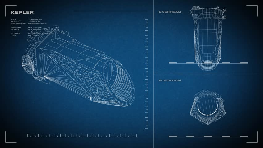 Looping, animated orthographic engineering blueprint of Kepler spacecraft. Displayed specs are accurate.
