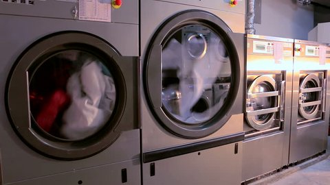 Large industrial washing machines in the hotel laundry