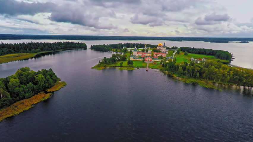 Russia, lake Valday, the Iveron monastery, (Aerial Drone flights) 27.08.2015 | Shutterstock HD Video #12913148