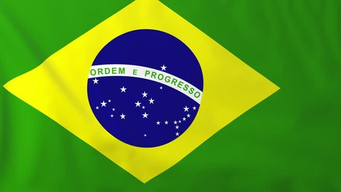 Flag of Brazil, slow motion waving. Rendered using official design and colors. Highly detailed fabric texture. Seamless loop in full 4K resolution. ProRes 422 codec.