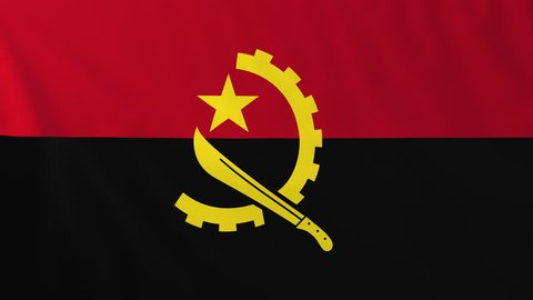 Flag of Angola, slow motion waving. Rendered using official design and colors. Highly detailed fabric texture. Seamless loop in full 4K resolution. ProRes 422 codec.