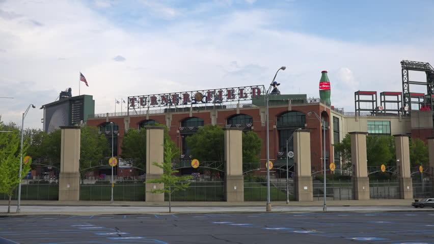ATLANTA, GEORGIA - CIRCA 2015 - Establishing shot of Turner Field, home to major league baseball Atlanta Braves.