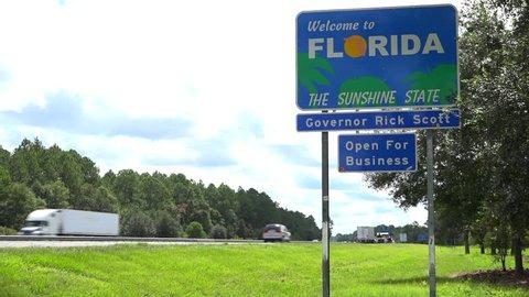 FLORIDA CIRCA 2015 - A highway sign welcomes visitors to Florida.