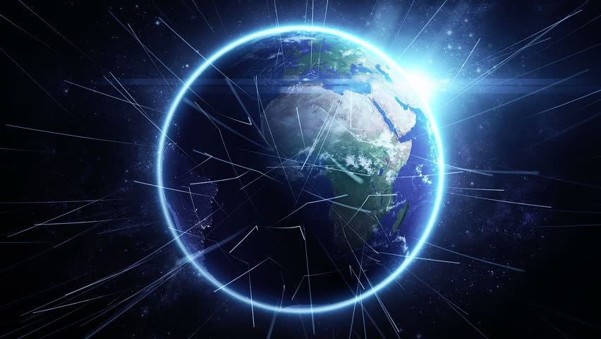Animation rotation of glowing globe of earth with view from space and flare of light. Technologic background with lines of data transfering or routes of rockets. Animation of seamless loop. - HD stock footage clip