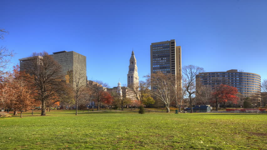 Timelapse of the Hartford Connecticut Skyline with park in front