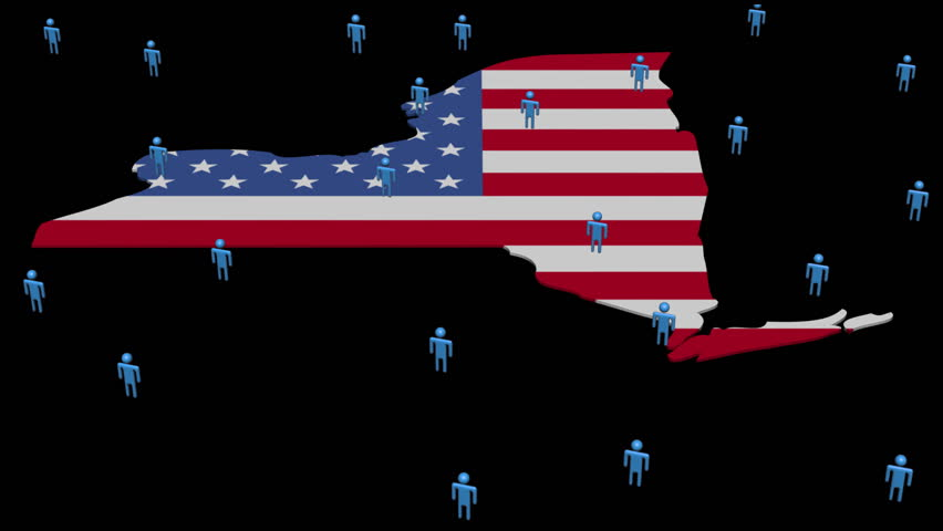 New York Map Flag With Many Abstract People Animation Hd Stock Footage Clip