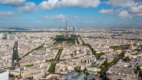 PARIS - MAY 2015: City panorama with the Eifel tower and clouds