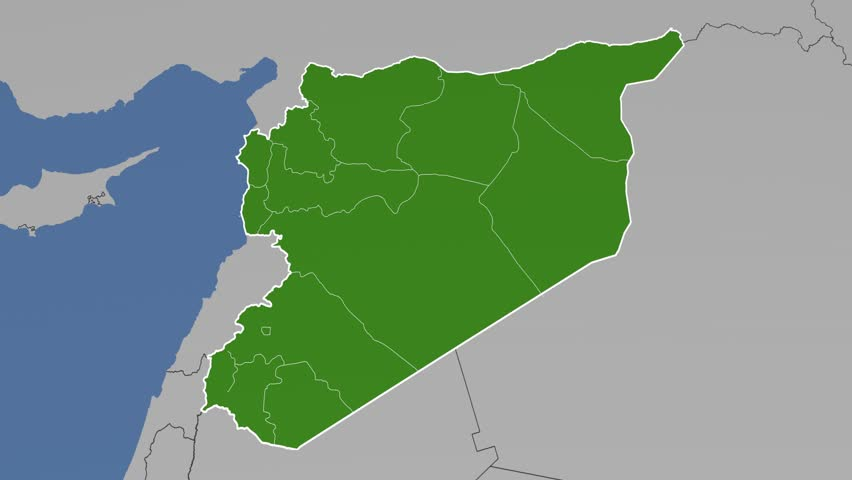Damascus region extruded on the administrative map of Syria. Solid on