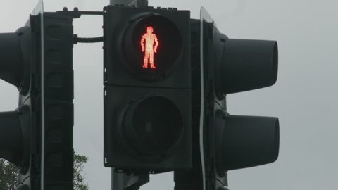 Red traffic light changes to green, allows pedestrians walk. Grant permission, attention to road crossing, urban warning street sign, transport rules. New start acceptance, project release, agreement