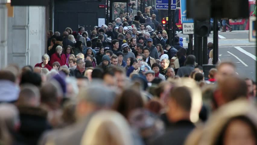 London, Nov 2015: After years of economic downturn, retail areas like Oxford street are once again packed with thousands of people out spending money in the capital's shops. Every age & race are here. | Shutterstock HD Video #13021256