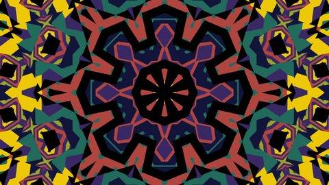 Tribal etnik ornament kaleidoscope moving motion graphics footage for music videos, VJ, show, fashion, broadcast, TV, folk films, mix, historical, documentation, game design, slide show background.