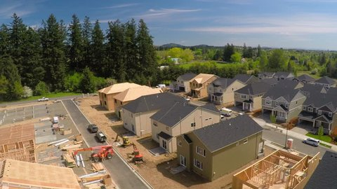 CIRCA 2015 - An aerial image over houses under construction in a subdivision.
