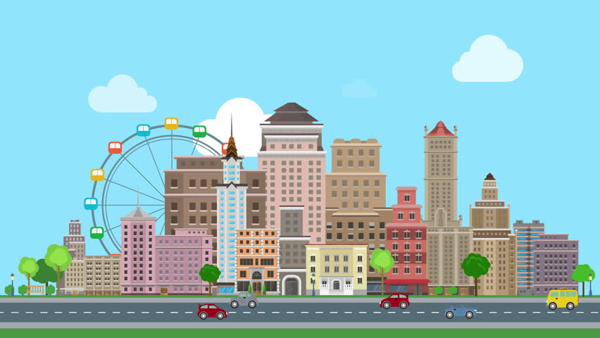 Flat Cartoon City Day Looped Animated Background Historic Skyscrapers With Road Highway Avenue Transport Street Traffic Stock Footage Video 13064075