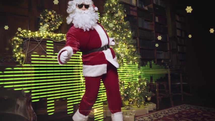 Santa Claus in sunglasses dancing, having fun, tracking shot, equalizer and snowflakes on background, tracking shot | Shutterstock HD Video #13126145