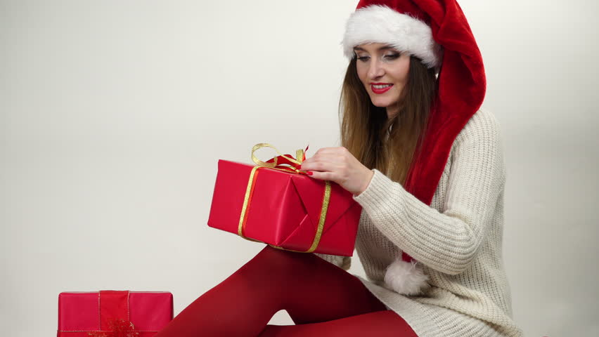 Woman In Pantyhose Opening Christmas Gift 4K Stock Footage Video ...