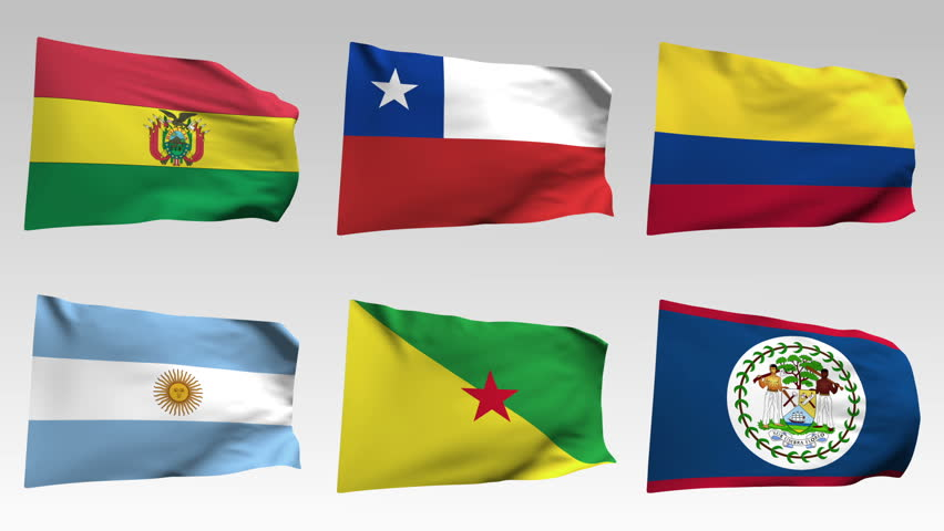 animated  flags from America collection with alpha channel Bolivia, Chile, Colombia, Argentina, French-guinea, Belize