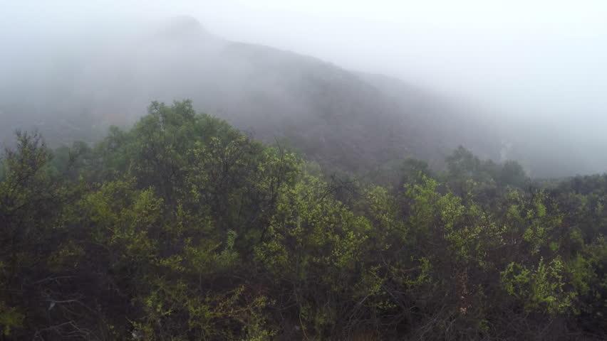 Santa Monica Mountains, Malibu, Early morning mist aerials