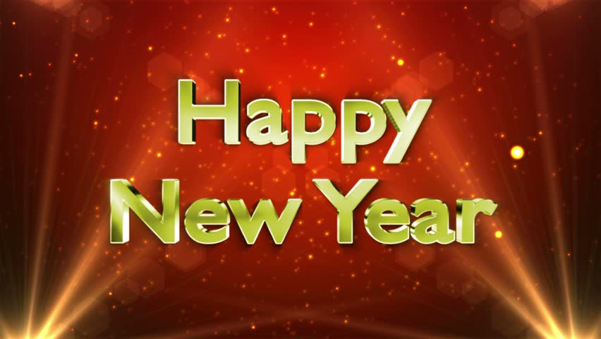 Happy New Year Gold Text Animation In Particles, 4k   4K Stock Video Clip