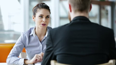 Job interview concept - two business people during recruitment