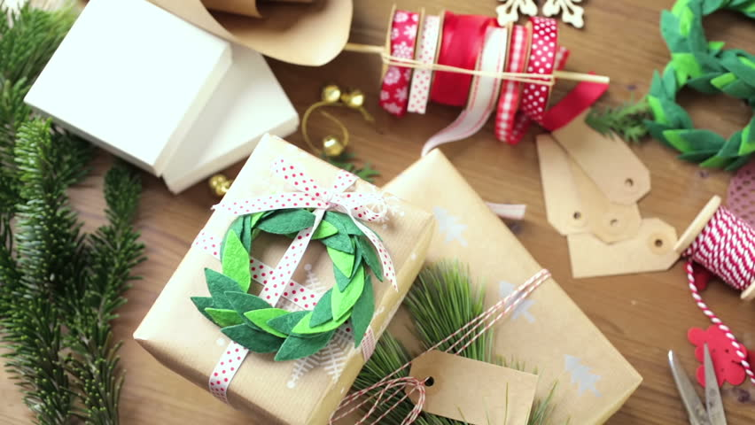 Wrapping Christmas Gifts in Recycled Stock Footage Video (100 ...