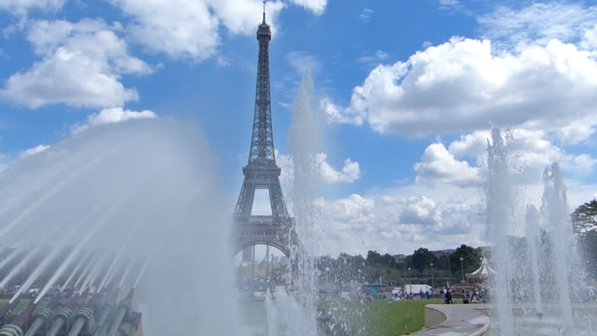The Eiffel Tower from the Trocadero, cannon fountains, Paris France | Shutterstock HD Video #13220855
