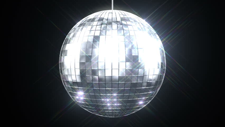 Beautiful Disco Ball Spinning seamless with Flares on Black Background. Loop-able isolated 3d animation of Mirrorball. HD 1080.