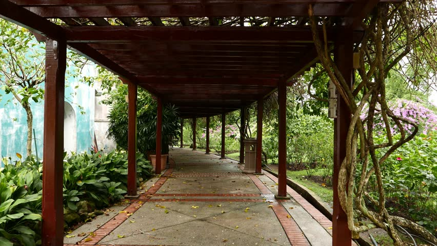 First person view move through wooden pergola walkway, shaded area in Hibiscus Garden, The Lake Gardens, Perdana Botanical Garden, KL Central Park. POV walk camera, glide shot.