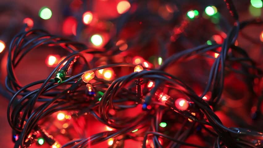 tangled christmas light bulbs stock footage video 100 royalty free 13308995 shutterstock - Tangled Christmas Lights