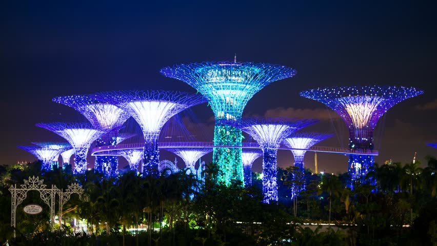 Garden By The Bay At Night singapore - circa april 2015: park gardensthe bay with it's