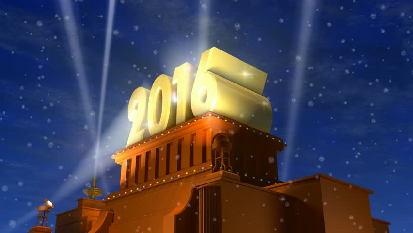 Creative abstract New Year 2016 celebration concept: shiny golden 2016 text on pedestal at night with fireworks in cinema style