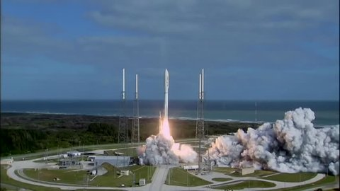 CIRCA 2010s - NASA Curiosity Rover lifts off from Kennedy Space Center aboard a Titan Rocket in November of 2011 with large crowds looking on.