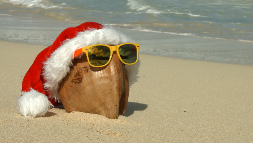 6888442b Santa Hat, Coconut and Sunglasses Stock Footage Video (100 ...