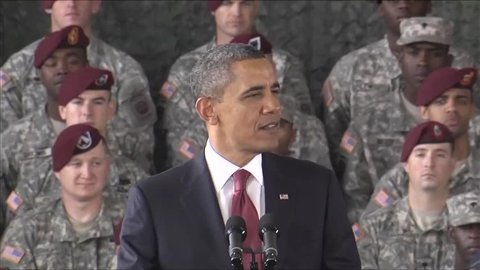CIRCA 2010s - President Barack Obama speaks about ending the war in Iraq.