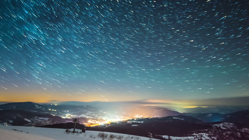 Starry sky time lapse in Carpatian mountains, 4k timelapse, 4096x2304, photographed on Nikon D800 camera.