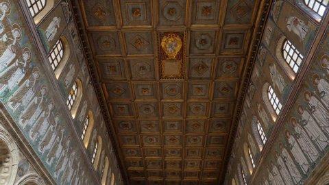 Ravenna,italy,15/09/2015:establishing shot of basilica cathedral saint apollinaris interior indoor at ravenna famous for its historic mosaics