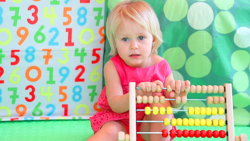 Cute Baby Girl Counting On Stock Footage Video 100 Royalty Free