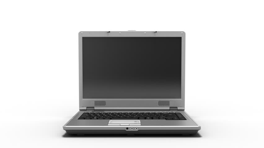 Clean Laptop Animation HD, Laptop appearing on white and opening to a white screen template,  video includes alpha mask for laptop and mask for screen. | Shutterstock HD Video #1342435